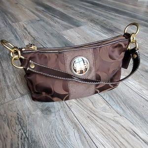 COACH Signature Stripe Shoulder Bag.